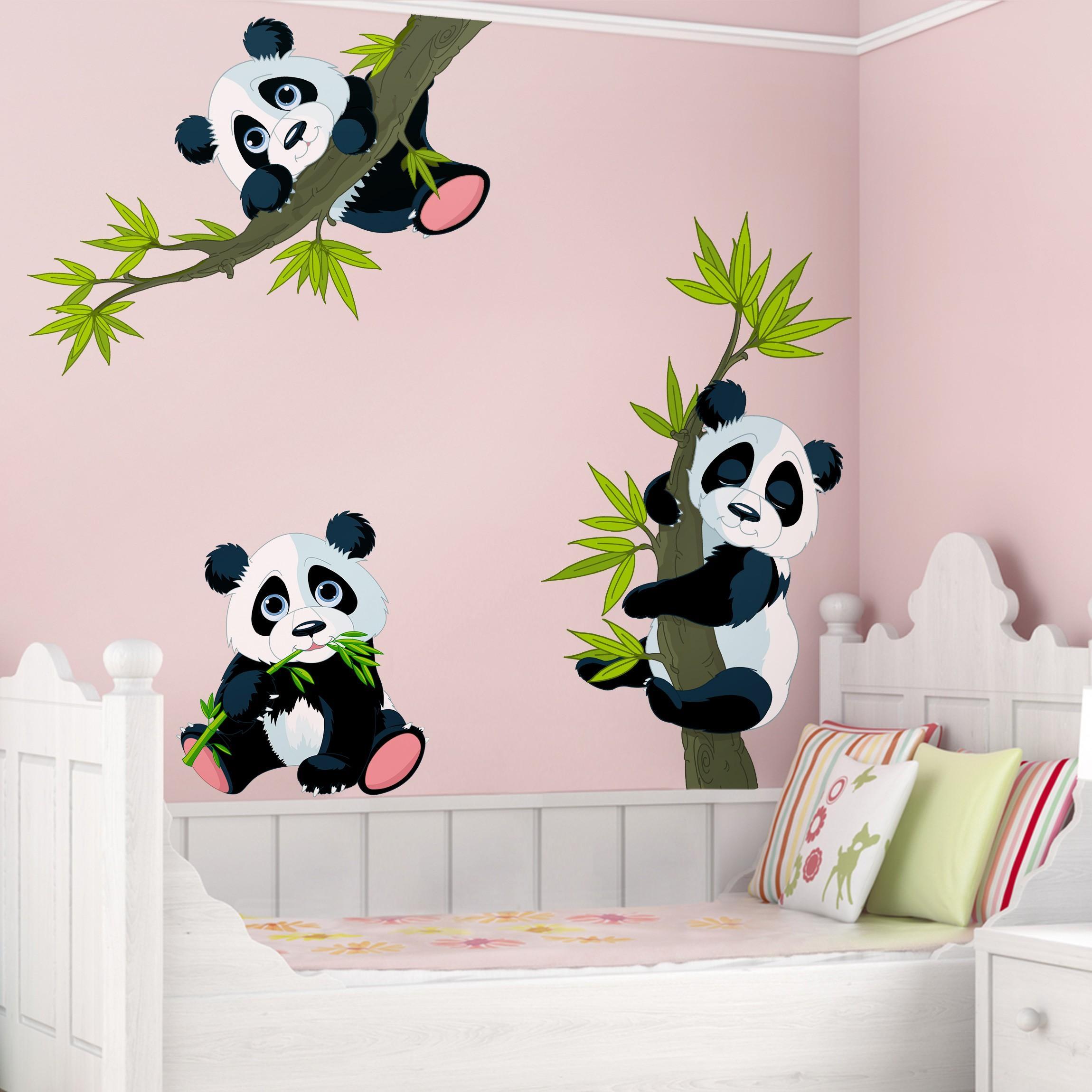 doplnky do bytu domu samolepky na stenu detsk izba samolepka na stenu panda 3 ks. Black Bedroom Furniture Sets. Home Design Ideas