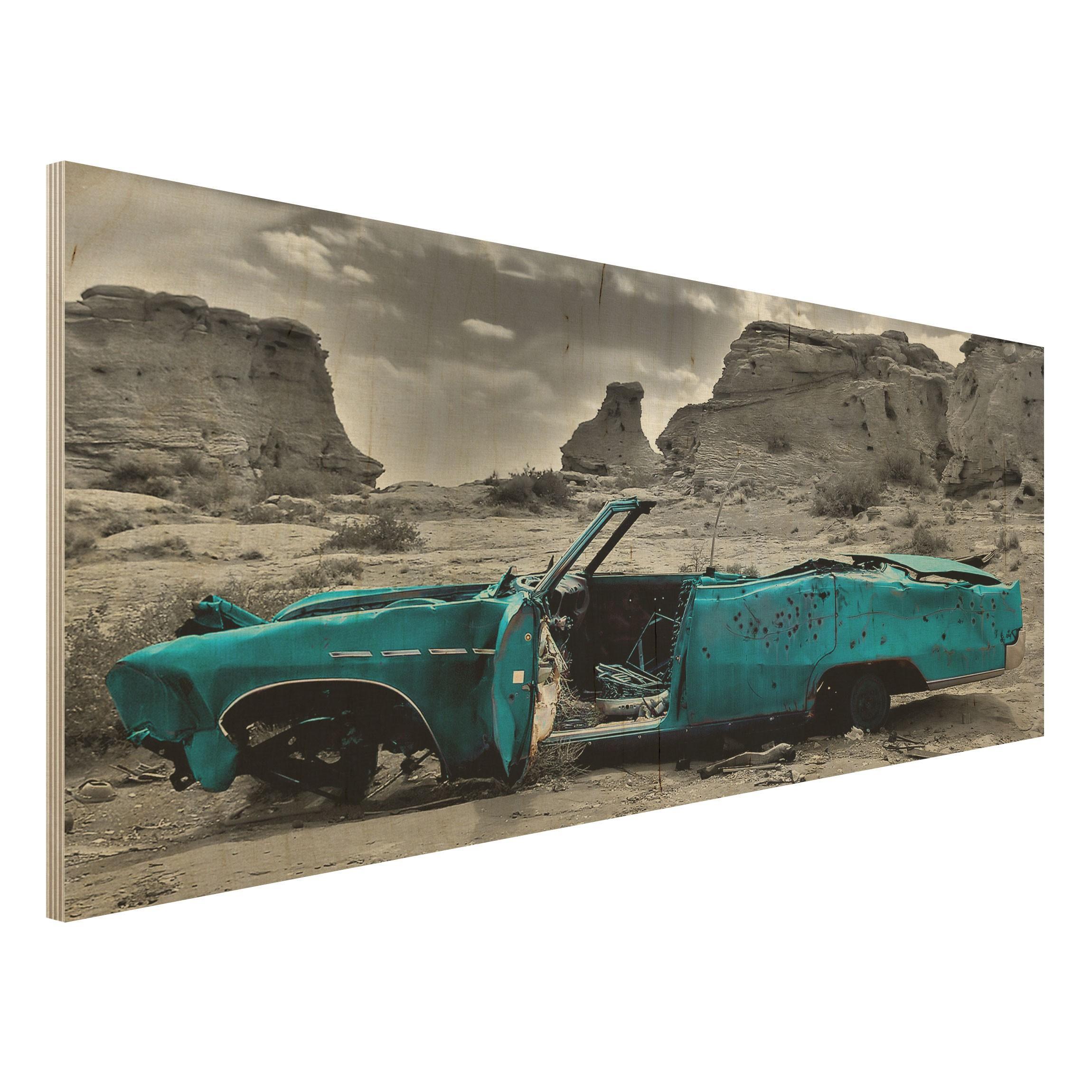 Drevenné obrazy Tyrkysový Cadillac 09e781403fc
